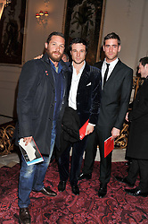 Left to right,  TOM HARDY, RUPERT EVANS and OLIVER JACKSON at the Audi Ballet Evening held at the Royal Opera House, Bow Street, Covent Garden, London on 22nd March 2012.