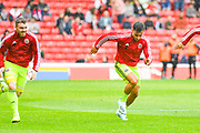Sheffield United George Baldock (2) warming up during the Pre-Season Friendly match between Barnsley and Sheffield United at Oakwell, Barnsley, England on 27 July 2019.