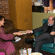Author Salman Rushdie backstage with Particia Lynch, Virginia Prescott, and Margaret Talcott before speaking at a Writers On A New England Stage show at The Music Hall in Portmouth, NH.