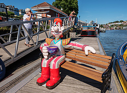 "© Licensed to London News Pictures.  27/06/2018; Bristol, UK. ""Space Oddity"", Wallace character at the Gromit Unleashed 2, official launch at Bristol Harbourside. Gromit Unleashed 2 will see the Academy Award®-winning character Gromit by Nick Park at Aardman Animations returning to Bristol in 2018 for the second time on sculpture trails to raise money for  the Grand Appeal charity. The character of Gromit will be joined by Wallace and arch nemesis Feathers McGraw.<br /> The trail will feature over 60 giant sculptures, including a new WG Grace cricketing Gromit, designed by high-profile artists, designers, innovators and local talent. Sculptures will be positioned in high footfall and iconic locations around Bristol and the surrounding area, for a family day out around the city and beyond. Photo credit: Simon Chapman/LNP"