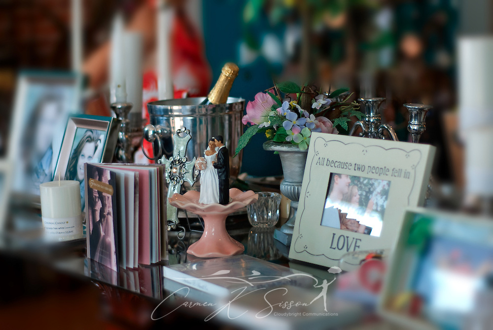 A variety of wedding gifts are displayed at Hollyhocks in Columbus, Miss. Aug. 16, 2010. (Photo by Carmen K. Sisson/Cloudybright)