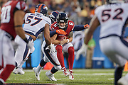 Atlanta Falcons quarterback Kurt Benkert (6) is tackled by Denver Broncos linebacker Malik Reed (59) during the Pro Football Hall of Fame Game at Tom Benson Hall of Fame Stadium, Thursday, Aug. 1, 2019, in Canton, OH. The Broncos defeated the Falcons 14-10. (Robin Alam/Image of Sport)