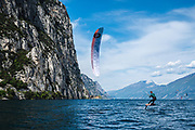 Olly Bridge from Great Britain in training on Lake Garda, Italy, in the lead up to the 2019 Formula Kite World Championship, 30th April, 2019. Image by Drew Malcolm Photography.