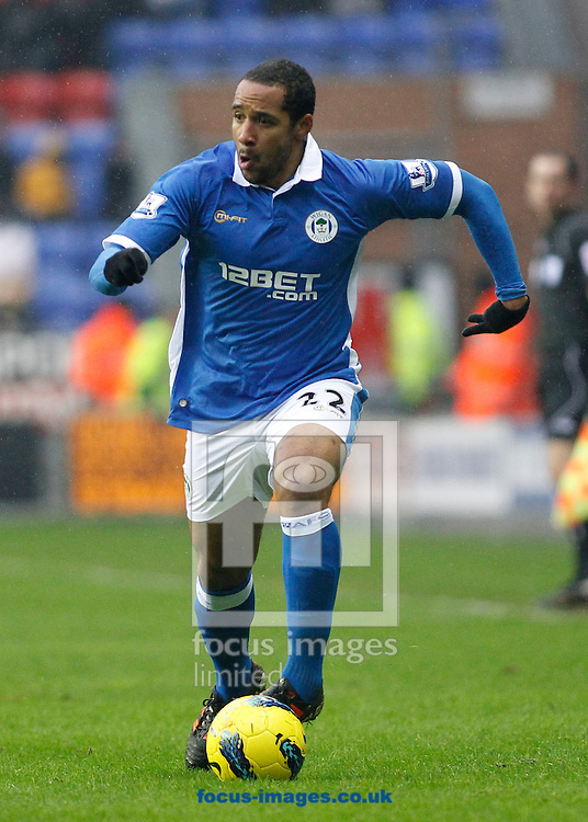 Picture by MIchael Sedgwick/Focus Images Ltd. 07900 363072.04/02/12.Jean Beausejour of Wigan Athletic in action during the game against Everton in the Barclays Premier League match at the DW Stadium, Wigan.