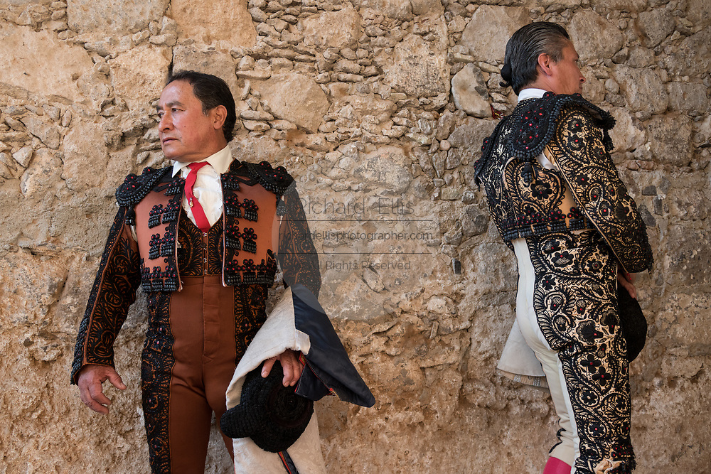 Mexican Matadors prepare as they wait to enter the ring for their bullfights at the Plaza de Toros in San Miguel de Allende, Mexico.