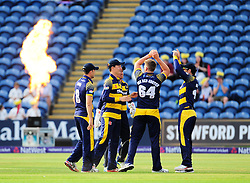Timm van der Gugten of Glamorgan celebrates the wicket of Jayawardene with his teammates.   - Mandatory by-line: Alex Davidson/JMP - 22/07/2016 - CRICKET - Th SSE Swalec Stadium - Cardiff, United Kingdom - Glamorgan v Somerset - NatWest T20 Blast