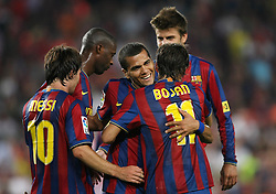 FC Barcelona's Leo Messi, Toure Yaya, Dani Alves, Bojan Krkic and Gerard Pique celebrate goal during the Supercup of Spain.August 23 2009.