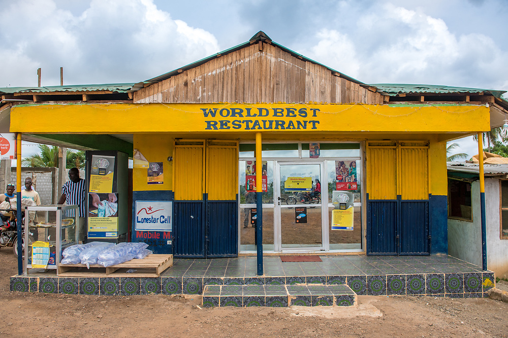 "Colorful restaurant named ""Worlds Best Restaurant"" in Ganta,Liberia"