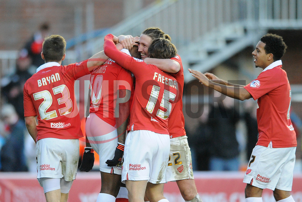 Bristol City's Jay Emmanuel-Thomas celebrates with his team mates after scoring. - Photo mandatory by-line: Dougie Allward/JMP - Mobile: 07966 386802 - 01/02/2015 - SPORT - Football - Bristol - Ashton Gate - Bristol City v Fleetwood Town - Sky Bet League One