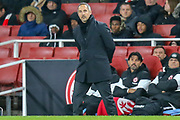 Eintracht Frankfurt Head Coach Adi Hutter during the Europa League match between Arsenal and Eintracht Frankfurt at the Emirates Stadium, London, England on 28 November 2019.