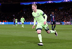 Kevin De Bruyne of Manchester City celebrates scores the opening goal - Mandatory by-line: Robbie Stephenson/JMP - 06/04/2016 - FOOTBALL - Parc des Princes - Paris,  - Paris Saint-Germain v Manchester City - UEFA Champions League Quarter Finals First Leg