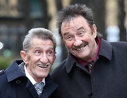 The Chuckle Brothers, alias Barry and Paul Elliott arriving at the Dave Lee Travis trial in London, Monday, 3rd February 2014. Picture by Stephen Lock / i-Images