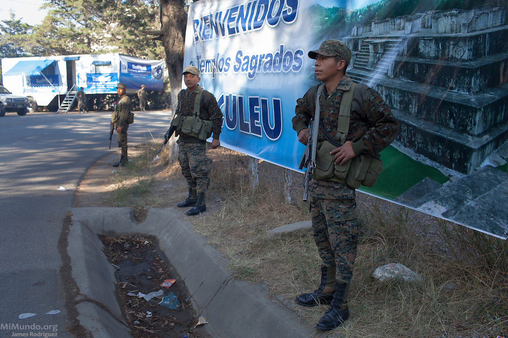 Soldiers from the 5th Infantry Brigade, stationed in Mariscal Gregorio Solares base, stand watch outside the ancient Mayan site of Zaculeu on the penultimate day of the Mayan era known as 13 Baktun. Zaculeu, Huehuetenango, Guatemala. December 20, 2012.