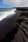 New Kaimu Black Sand Beach, Kalapana, Puna, Island of Hawaii