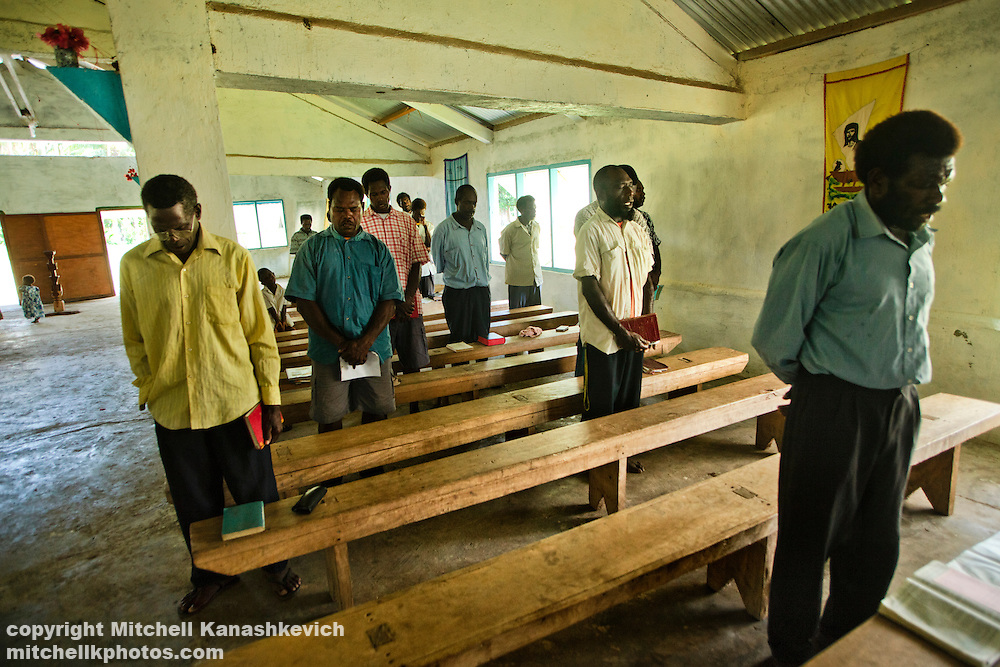 Congregation at a church in Lutes village. Uleveo, Maskelyne Island, Malampa Province, Malekula, Vanuatu