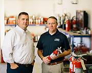 21 November 2018–Jason McDonald and employee are photographed at General Fire & Safety as the face of fire protection for FACES 2019.