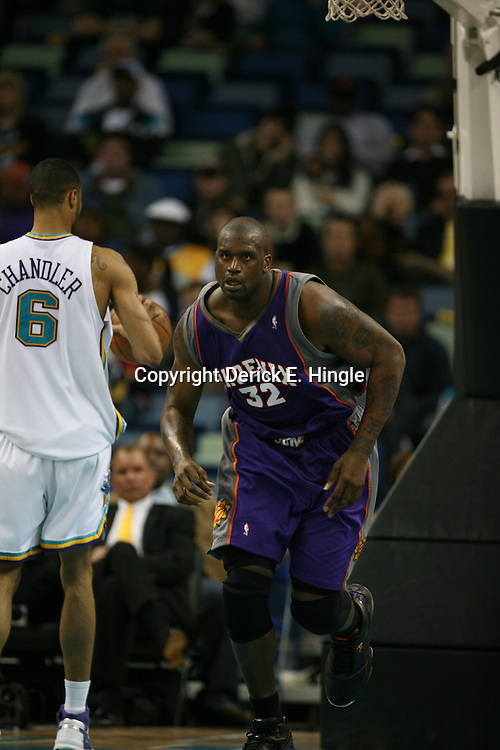 Shaquille O'Neal #32 heads down court after a score on February 26, 2008 at the New Orleans Arena in New Orleans, Louisiana. The New Orleans Hornets defeated the Phoenix Suns 120-103.