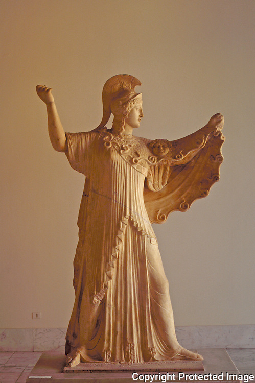 Statue of Athena from the Imperial Roman age, probably a copy of an ancient Greek Classical sculpture, it was found in the Villa dei Papiri in Herculaneum