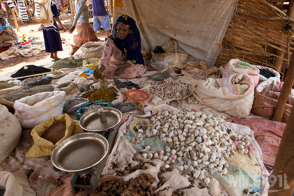 Spices being sold in a market in Finote Selam, Ethiopia.