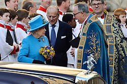 © Licensed to London News Pictures. 14/03/2016. The Queen and The Duke of Edinburgh attend the Commonwealth Day Observance Service At Westminister Abbey. The annual multi-faith service is a celebration of the Commonwealth London, UK.  Photo credit: Ray Tang/LNP
