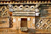 MEXICO, MAYAN, YUCATAN Uxmal; Nunnery Quadrangle façade