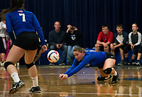 Winnisquam's Madison Skeats goes for a dig during NHIAA Division III volleyball with Interlakes on Wednesday evening.  (Karen Bobotas/for the Laconia Daily Sun)