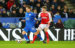 Adrien Silva of Leicester City takes on George Glendon of Fleetwood Town - Mandatory by-line: Robbie Stephenson/JMP - 16/01/2018 - FOOTBALL - King Power Stadium - Leicester, England - Leicester City v Fleetwood Town - Emirates FA Cup third round proper