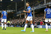 Everton forward Dominic Calvert-Lewin (9) celebrates his goal 2-0  during the Premier League match between Everton and Newcastle United at Goodison Park, Liverpool, England on 21 January 2020.