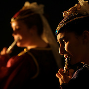 A flute player greets guests at Drake University's annual Madrigal dinner.  photo by david peterson  Des Moines, Ia.