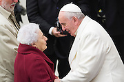 Vatican City dec 19th 2015, pope's audience to railway employers and workers. In the picture pope Francis with an old employer