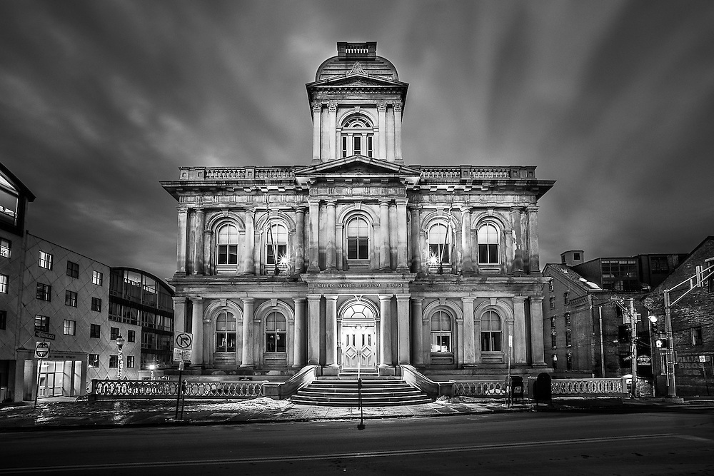 This was screaming for a strong black and white treatment. The United States Custom House in Portland, Maine, is a stunning piece of architecture in the city's Old Port Exchange district.