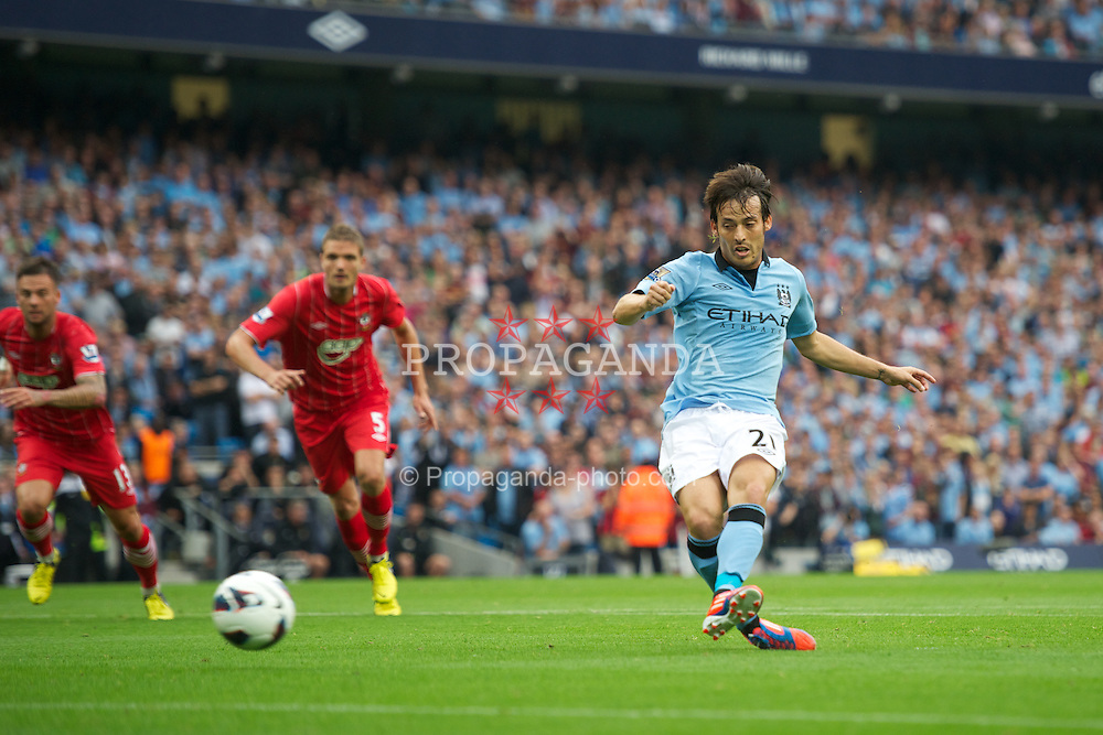 MANCHESTER, ENGLAND - Sunday, August 19, 2012: Manchester City's David Silva misses from the penalty spot against Southampton during the Premiership match at the City of Manchester Stadium. (Pic by David Rawcliffe/Propaganda)