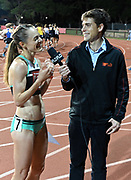 May 2, 2019; Stanford, CA, USA; Jenny Simpson (left) is interviewed by Flotrack broadcaster Lincoln Shryack after winning the women's 5,000m during the 24th Payton Jordan Invitational at Cobb Track & Angell Field.