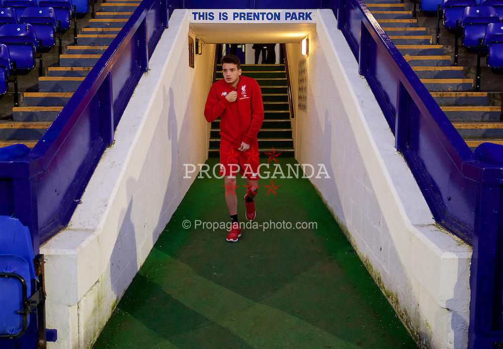 BIRKENHEAD, ENGLAND - Friday, March 11, 2016: Liverpool's Pedro Chirivella arrives before the Under-21 FA Premier League match against Manchester United at Prenton Park. (Pic by David Rawcliffe/Propaganda)