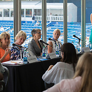 August 16, 2014, New Haven, CT:<br /> Panelists speak during the Aetna Symposium on day four of the 2014 Connecticut Open at the Yale University Tennis Center in New Haven, Connecticut Monday, August 18, 2014.<br /> (Photo by Billie Weiss/Connecticut Open)
