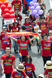 May 6, 2018 - Tokyo, Tokyo, Japan - Participants smile as they march in the Tokyo Rainbow Pride parade on the streets of Tokyo, Japan, 06 May 2018. About 7000 people participated in the march,  of sexual minorities of the LGBT (lesbian, gay, bisexual, and transgender) community and their supporters paraded through the streets of downtown Tokyo to promote a society free of prejudice and discrimination. (Credit Image: © Alessandro Di Ciommo/NurPhoto via ZUMA Press)
