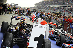 30.10.2011, Jaypee-Circuit, Noida, IND, F1, Grosser Preis von Indien, Noida, im Bild Sebastian Vettel (GER), Red Bull Racing - Jenson Button (GBR),  McLaren F1 Team // during the Formula One Championships 2011 Large price of India held at the Jaypee-Circui 2011-10-30. EXPA Pictures © 2011, PhotoCredit: EXPA/ nph/ Dieter Mathis +++++ ATTENTION - OUT OF GERMANY/(GER), CROATIA/(CRO), BELGIAN/(BEL) +++++