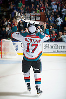 KELOWNA, CANADA - MAY 13: Rodney Southam #17 of Kelowna Rockets skates with the WHL Championship trophy on May 13, 2015 during game 4 of the WHL final series at Prospera Place in Kelowna, British Columbia, Canada.  (Photo by Marissa Baecker/Shoot the Breeze)  *** Local Caption *** Rodney Southam;