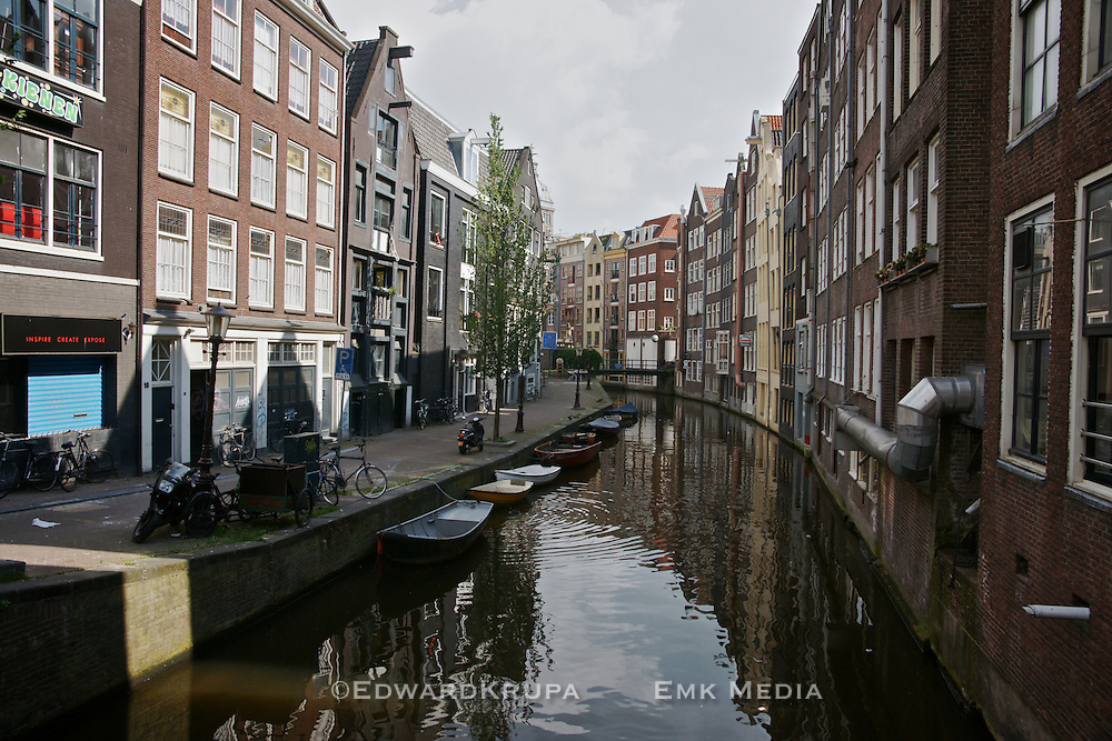 A quiet  canal street  in Amsterdam.