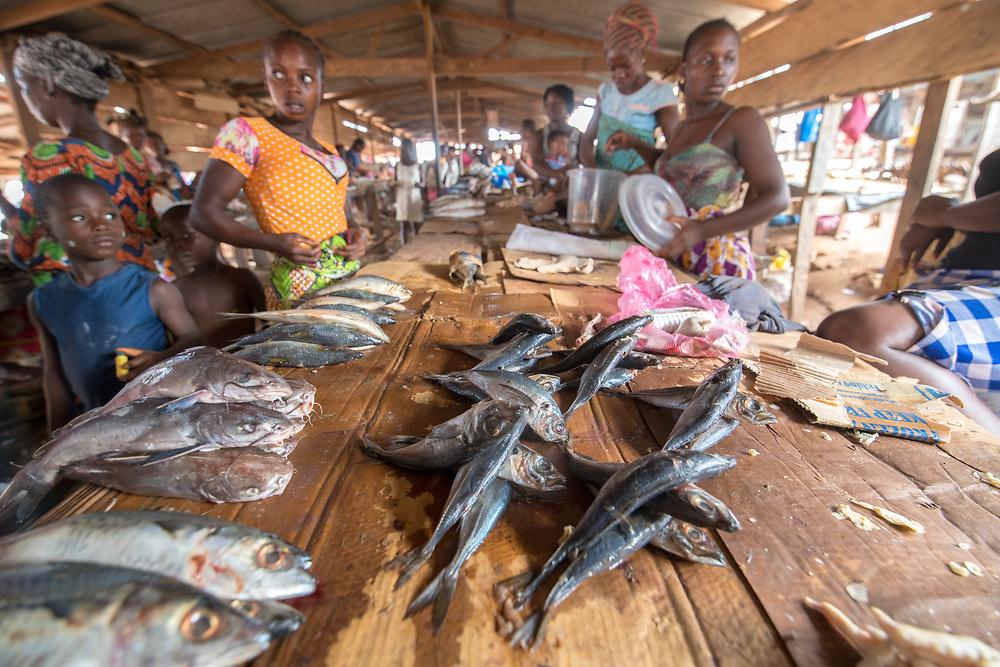 Chicken feet and fish for sale Ganta, Liberia