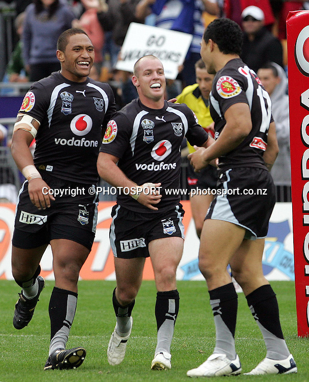 Warriors Manu Vatuvei and Grant Rovelli celebrate the try of Sonny Fai. NRL Rugby League, Vodafone Warriors v Bulldogs, Mt Smart Stadium, Auckland, New Zealand, Sunday 13 April 2008. Photo: Renee McKay/PHOTOSPORT