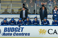 KELOWNA, BC - SEPTEMBER 29: Travis Green, head coach of the Vancouver Canucks stands on the bench against the Arizona Coyotes at Prospera Place on September 29, 2018 in Kelowna, Canada. (Photo by Marissa Baecker/NHLI via Getty Images)  *** Local Caption ***