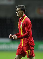 Gareth Bale (Tottenham Hotspur) of Wales  celebrates scoring the opening goal of the game for Wales - Photo mandatory by-line: Joe Meredith/JMP - Tel: Mobile: 07966 386802 06/02/2013 - SPORT - FOOTBALL - Liberty Stadium - Swansea  -  Wales V Austria - International Friendly