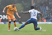 Port Vale Midfielder, Gezim Shalaj (30) ands Bury Defender, Greg Leigh (3) during the EFL Sky Bet League 1 match between Bury and Port Vale at the JD Stadium, Bury, England on 3 September 2016. Photo by Mark Pollitt.