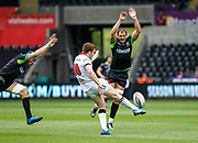 Ospreys second row Tyler Ardron and Ospreys flanker Justin Tipuric attempt to charge down Ulster outside-half Paddy Jackson' kick during the Guinness Pro 12 2017 Round 21 match between Ospreys and Ulster at the Liberty Stadium, Swansea, Wales on 29 April 2017. Photo by Andrew Lewis.