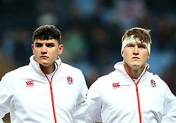 Ted Hill and James Scott of England U20 - Mandatory by-line: Robbie Stephenson/JMP - 16/03/2018 - RUGBY - Ricoh Arena - Coventry, England - England U20 v Ireland U20 - Six Nations U20