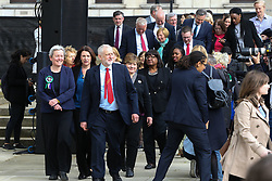 Labour Leader Jeremy Corbyn arrives with members of the shadow cabinet. <br /> A statue designed by Turner Prize-winning artist Gillian Wearing OBE of suffragist leader Millicent Fawcett is unveiled in Parliament Square by XXXX. The sculpture is the first-ever monument to a woman and the first designed by a woman to stand within the square and follows the successful campaign by feminist campaigner Caroline Criado-Perez who organised an 85,000 signature petition. London, April 24 2018.