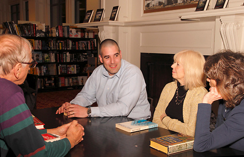 (from left) Joe Hemsky of Fairborn, Steve Turek of Oakwood, Bonnie Doczy of Springboro and Donna Beddies of Dayton during a meeting of the Classics Book Club at Books & Company in The Greene, Monday, March 5, 2012.