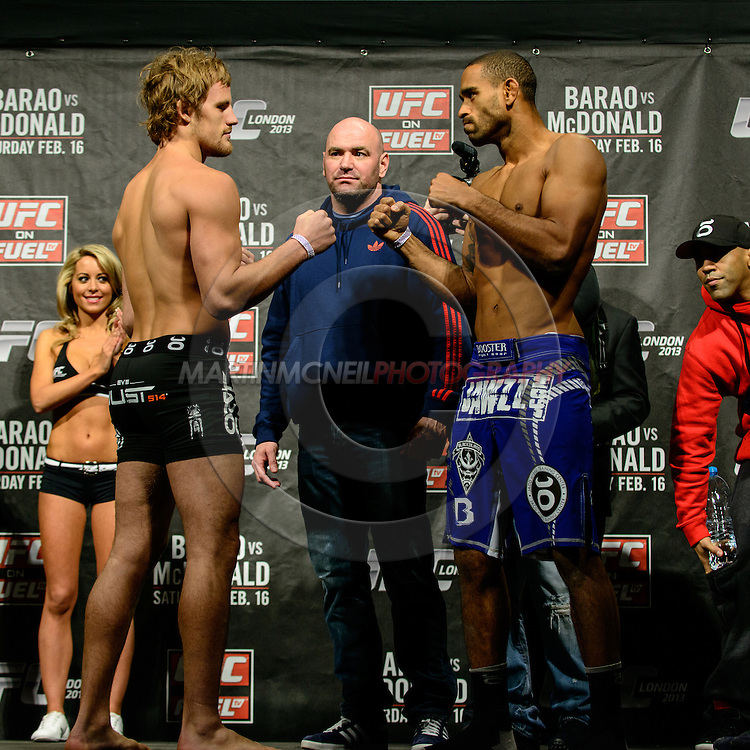 LONDON, ENGLAND, FEBRUARY 15, 2013: Gunnar Nelson and Jorge Santiago face off during the official weigh-ins for UFC on Fuel TV 7 inside Wembley Arena in London, England on Friday, February 15, 2013 © Martin McNeil