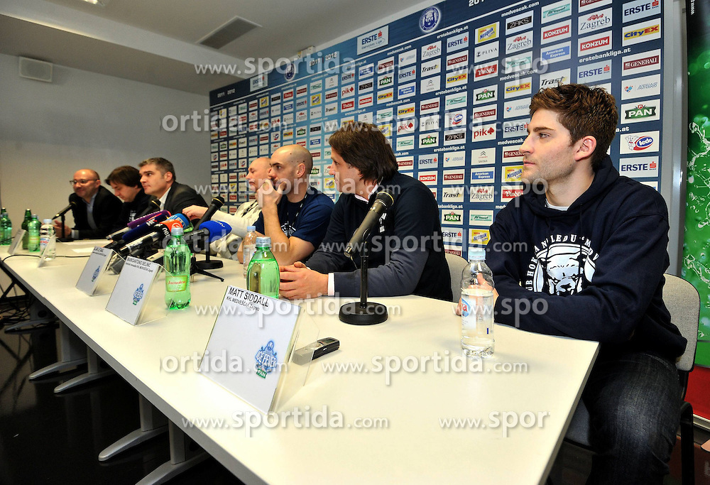 02.01.2012, Zagreb, CRO, EBEL, CRO, EBEL, KHL Medescak Zagreb, Pressekonferenz, Matt Siddall, im Bild Alan Letang, Mario Balic, Markoantonio Belinic, Marty Raymond, Matt Siddall, Damir Gojanovic // Alan Letang, Mario Balic, Markoantonio Belinic, Marty Raymond, Matt Siddall, Damir Gojanovic during Press conference of Hockey Club Medvescak introduced a new player Matt Siddall, Zageb, Croatia on 2011/01/02. EXPA Pictures © 2012, PhotoCredit: EXPA/ nph/ PIXSELL/ Marko Lukunic..***** ATTENTION - OUT OF GER, CRO *****